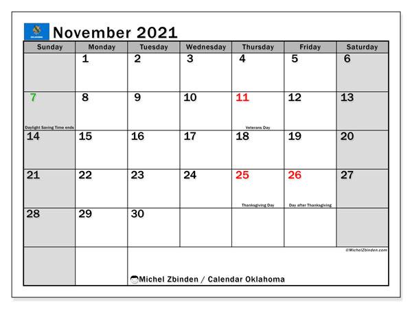 November 2021 Calendar, with the holidays of Oklahoma. Holidays calendar to print free.