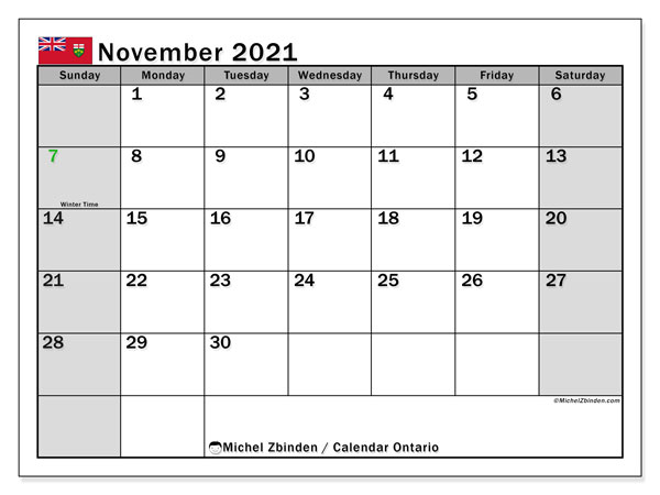 Calendar November 2021 - Ontario. Public Holidays. Monthly Calendar and bullet journal to print free.