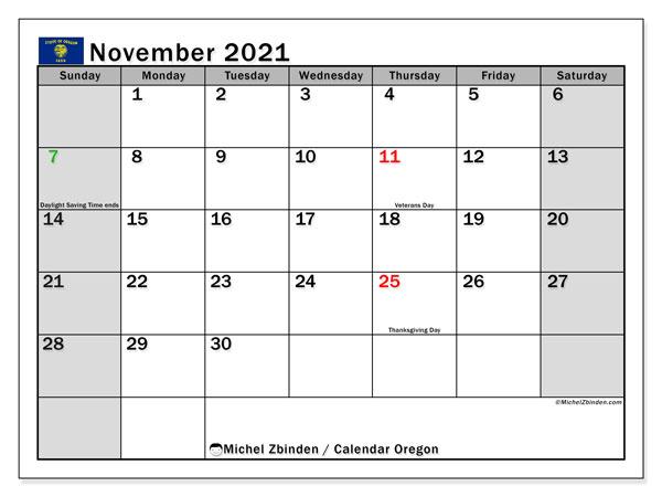 November 2021 Calendar, with the holidays of Oregon. Holidays calendar to print free.