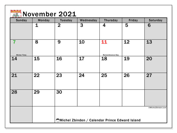 November 2021 Calendar, with the holidays of Prince Edward Island. Holidays calendar to print free.
