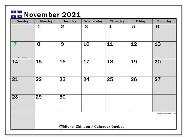 November 2021 Calendar, with the holidays of Quebec. Free printable calendar with public holidays.