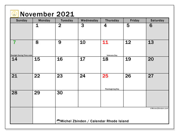 Calendar November 2021 - Rhode Island. Public Holidays. Monthly Calendar and free schedule to print.