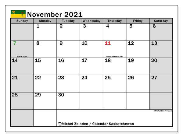 November 2021 Calendar, with the holidays of Saskatchewan. Free printable calendar with public holidays.