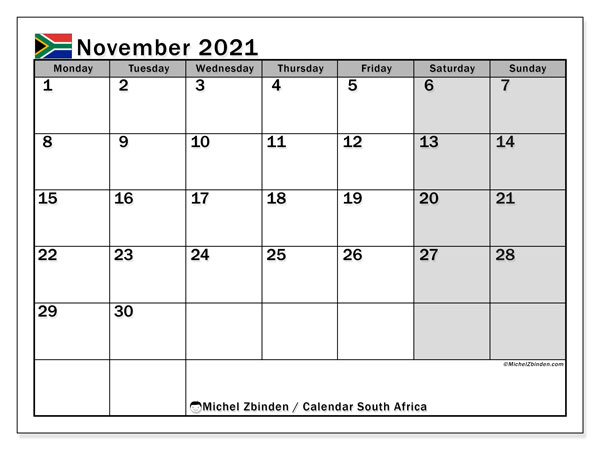 November 2021 Calendar, with the holidays of South Africa. Free printable calendar with public holidays.