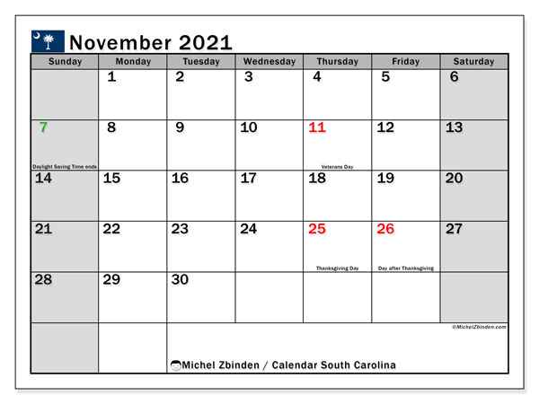 "Printable ""South Carolina"" calendar with public holidays. Monthly November 2021 calendar and timetable to print free."