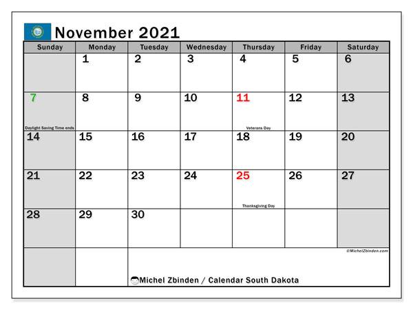 November 2021 Calendar, with the holidays of South Dakota. Holidays calendar to print free.