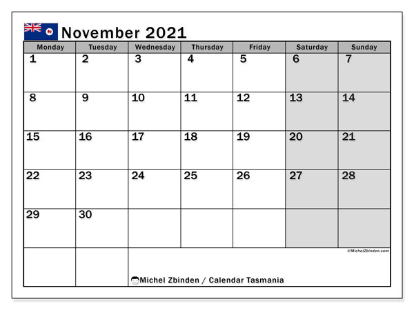 November 2021 Calendar, with the holidays of Tasmania. Free printable calendar with public holidays.