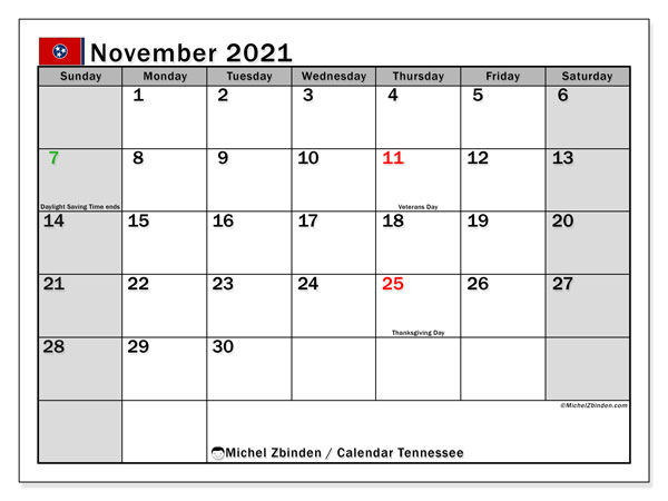 November 2021 Calendar, with the holidays of Tennessee. Holidays calendar to print free.
