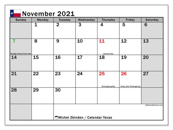 November 2021 Calendar, with the holidays of Texas. Free printable calendar with public holidays.