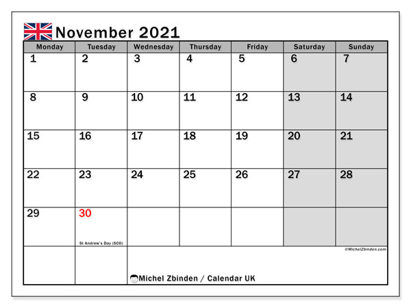 November 2021 Calendar, with the holidays of UK. Holidays calendar to print free.