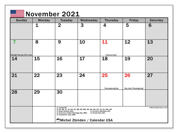 Calendar November 2021 - USA. Public Holidays. Monthly Calendar and free printable planner.