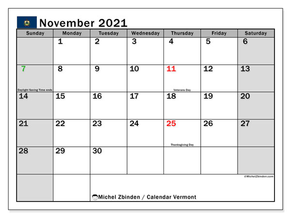 November 2021 Calendar, with the holidays of Vermont. Free printable calendar with public holidays.