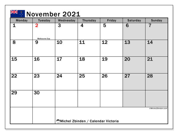 November 2021 Calendar, with the holidays of Victoria. Free printable calendar with public holidays.
