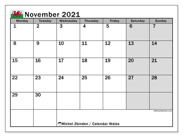 November 2021 Calendar, with the holidays of Wales. Holidays calendar to print free.