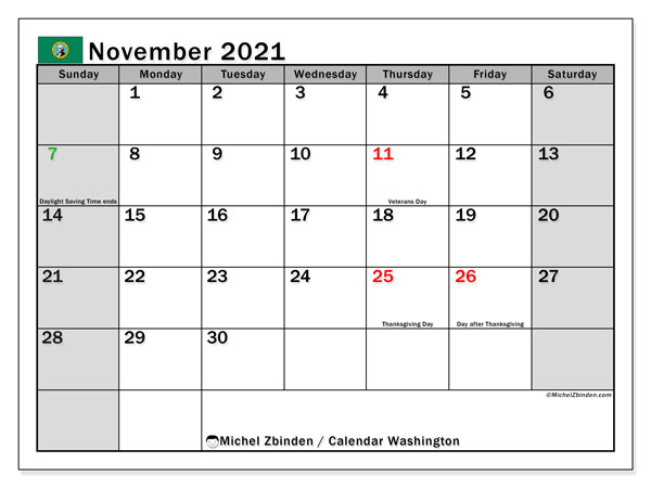 November 2021 Calendar, with the holidays of Washington. Holidays calendar to print free.