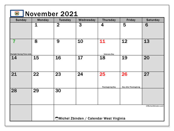 November 2021 Calendar, with the holidays of West Virginia. Holidays calendar to print free.