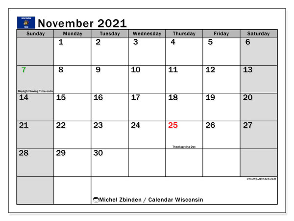 November 2021 Calendar, with the holidays of Wisconsin. Holidays calendar to print free.