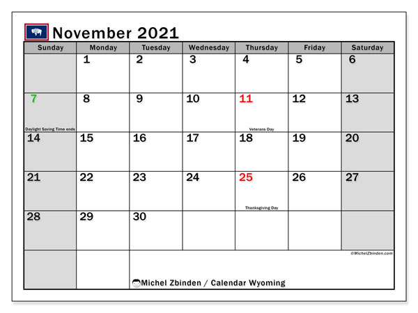 November 2021 Calendar, with the holidays of Wyoming. Holidays calendar to print free.