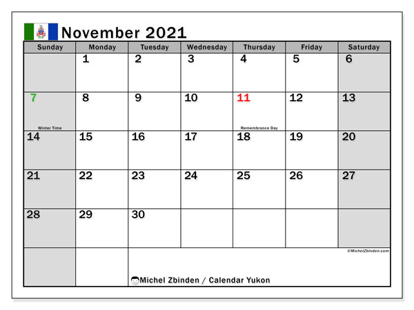 Calendar November 2021 - Yukon. Public Holidays. Monthly Calendar and planner to print free.