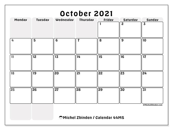 Printable calendar, October 2021, 44MS