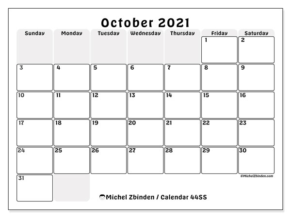 Printable calendars, October 2021, Sunday - Saturday
