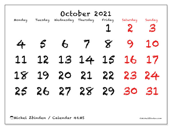 Printable calendar, October 2021, 46MS