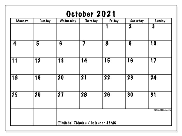 Printable calendar, October 2021, 48MS