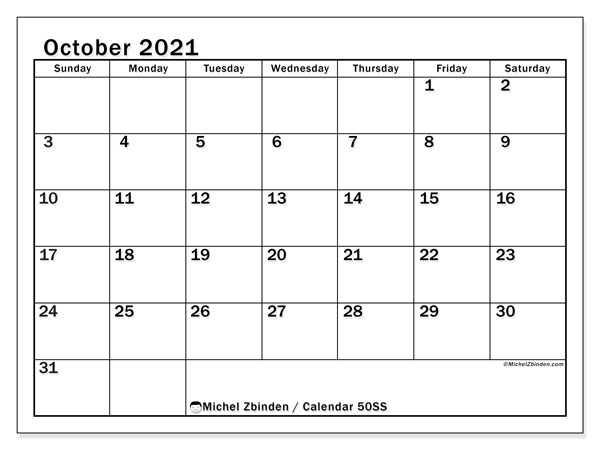 Printable calendar, October 2021, 50SS