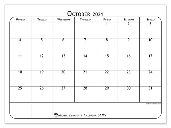 Printable calendar, October 2021, 51MS
