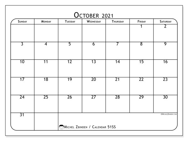 Printable calendar, October 2021, 51SS
