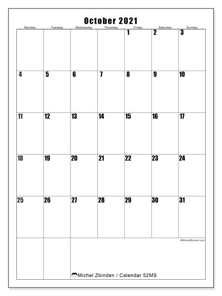 October 2021 Calendar, 52MS. Free printable monthly planner.