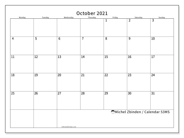 Printable calendar, October 2021, 53MS