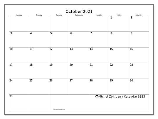 Printable calendar, October 2021, 53SS