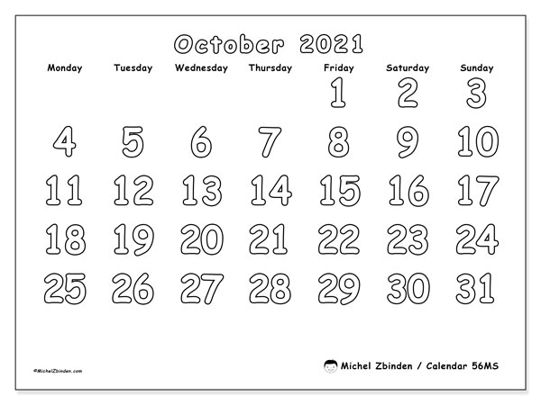 Printable calendars, October 2021, Monday - Sunday