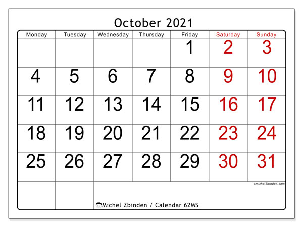 Calendar October 2021 - 62MS. Easy to read. Monthly Calendar and bullet journal to print free.