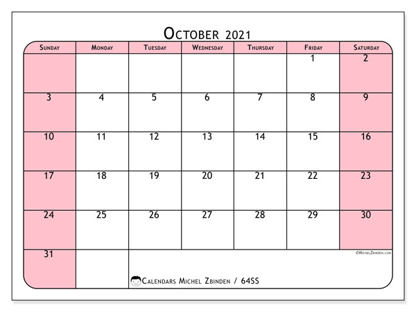 October 2021 Calendar, 64SS. Bullet journal to print free.
