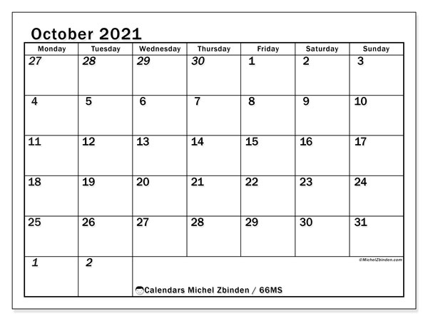 Calendar October 2021 - 66MS. The Total. Monthly Calendar and agenda to print free.
