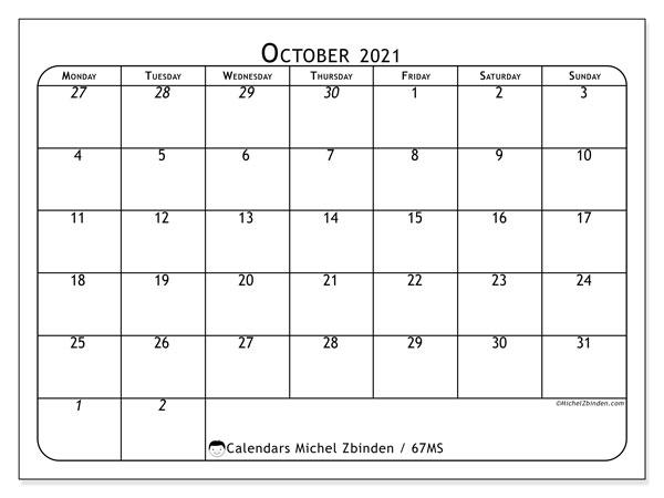 October 2021 Calendar, 67MS. Free printable planner.