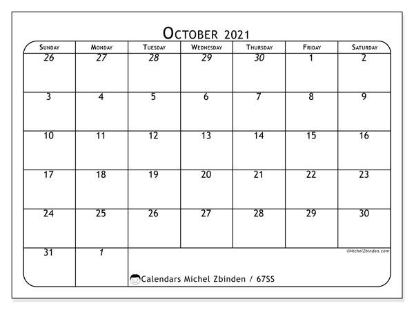 October 2021 Calendar, 67SS. Free bullet journal to print.