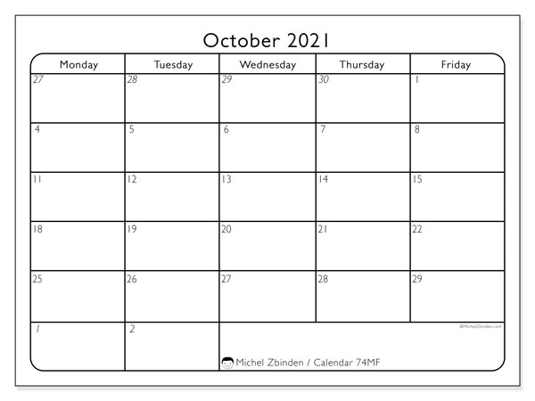 Printable calendar, October 2021, 74SS