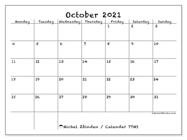 Printable calendar, October 2021, 77MS