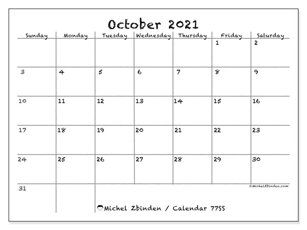 Printable calendar, October 2021, 77SS
