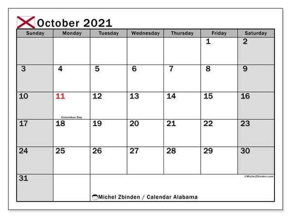 October 2021 Calendar, with the holidays of Alabama. Holidays calendar to print free.