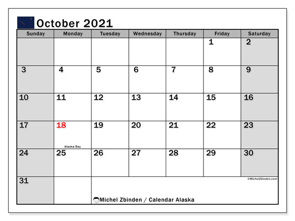 October 2021 Calendar, with the holidays of Alaska. Free printable calendar with public holidays.
