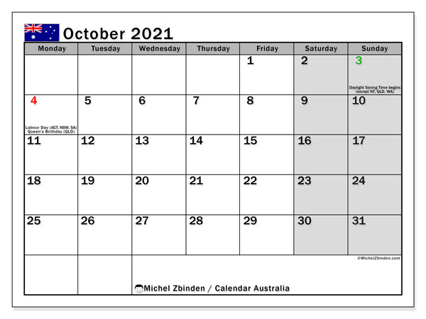 Calendar October 2021 - Australia. Public Holidays. Monthly Calendar and free printable schedule.