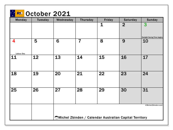 October 2021 Calendar, with the holidays of Australian Capital Territory. Free printable calendar with public holidays.