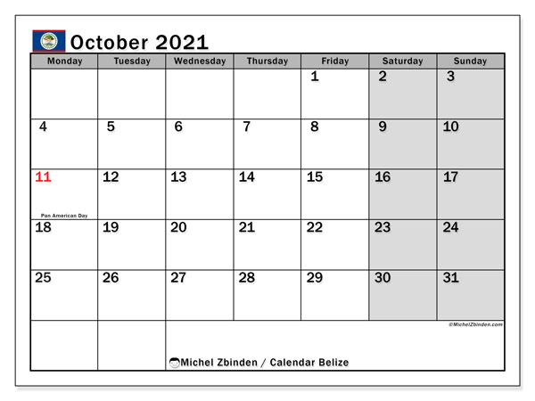October 2021 Calendar, with the holidays of Belize. Free printable calendar with public holidays.