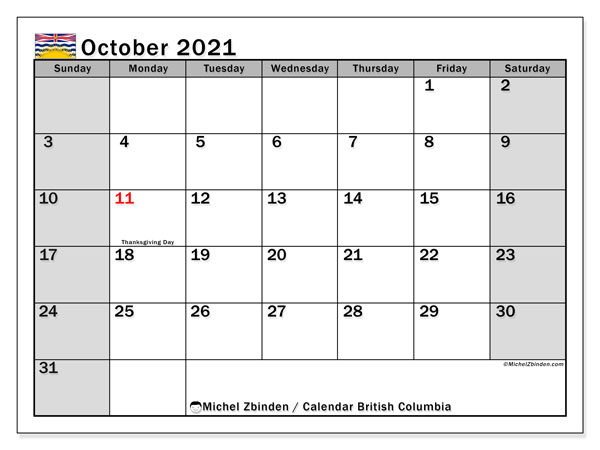October 2021 Calendar, with the holidays of British Columbia. Free printable calendar with public holidays.