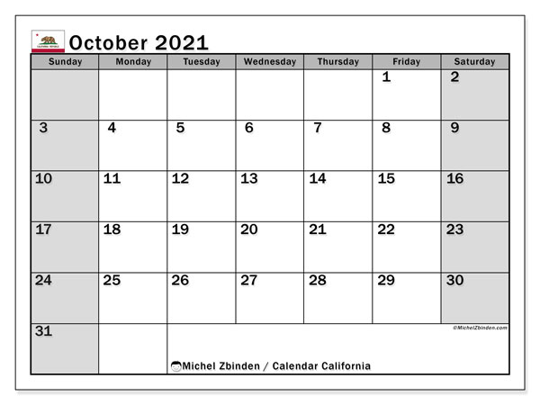 October 2021 Calendar, with the holidays of California. Free printable calendar with public holidays.