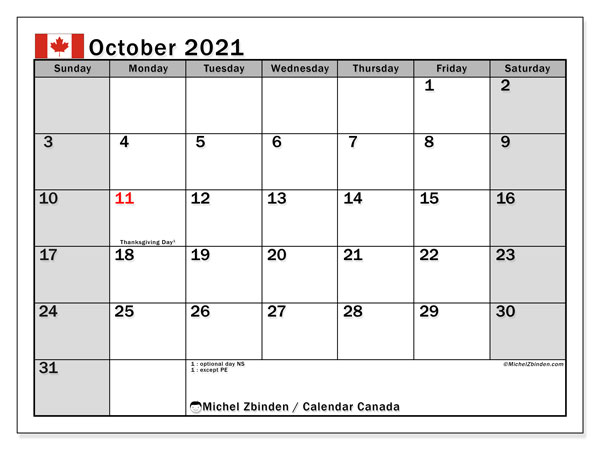 "Printable ""Canada"" calendar with public holidays. Monthly October 2021 calendar and free printable timetable."